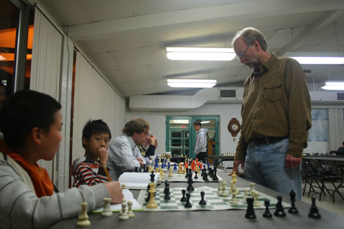 IM Jack Peters in his simul at Arcadia Chess Club.